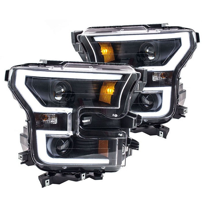 2015 2016 f150 anzo led outline projector headlights black housings 111347. Black Bedroom Furniture Sets. Home Design Ideas